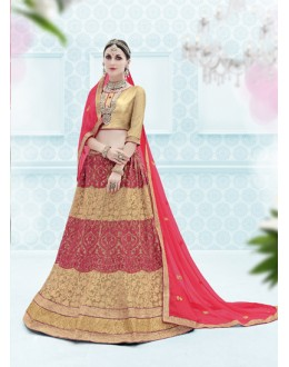 Party Wear Piege & Cream Designer Net Lehenga Choli - 19908