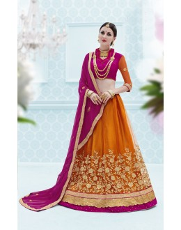 Traditional Wear Orange Designer Net Lehenga Choli - 19909
