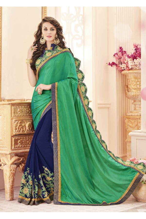 Party Wear Green & Blue Paper Silk Saree  - 19980