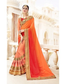 Traditional Wear Orange Georgette & Chiffon Saree  - 19997