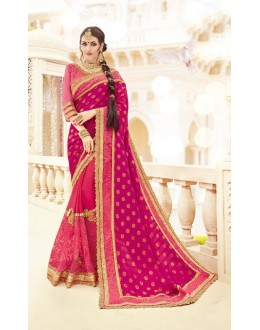 Wedding Wear Light Pink Jacquard & Vichitra Silk Saree  - 19998