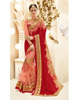 Party Wear Maroon & Pink Georgette Saree  - 20000