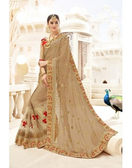 Traditional Wear Beige Chinnon Saree  - 20001