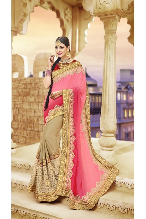 Party  Wear Pink & Beige Pure Chiffon Saree  - 20006