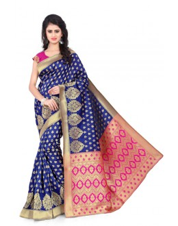 Festival Wear Blue & Pink Banarasi Silk Saree  - 20007