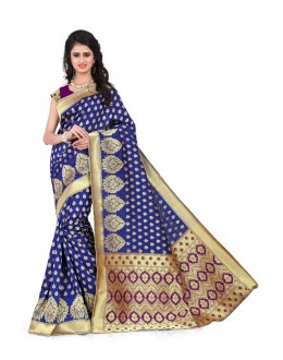 Party Wear Blue & Purple Banarasi Silk Saree  - 20008