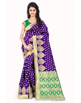 Ethnic Wear Purple & Green Banarasi Silk Saree  - 20010