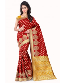 Traditional Wear Red & Yellow  Banarasi Silk Saree  - 20011