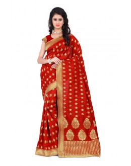 Traditional Wear Red Banarasi Silk Saree  - 20017