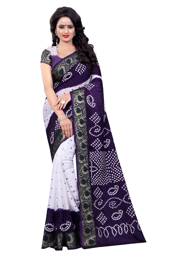 Casual Wear White & Purple Cotton Silk Saree  - 20019