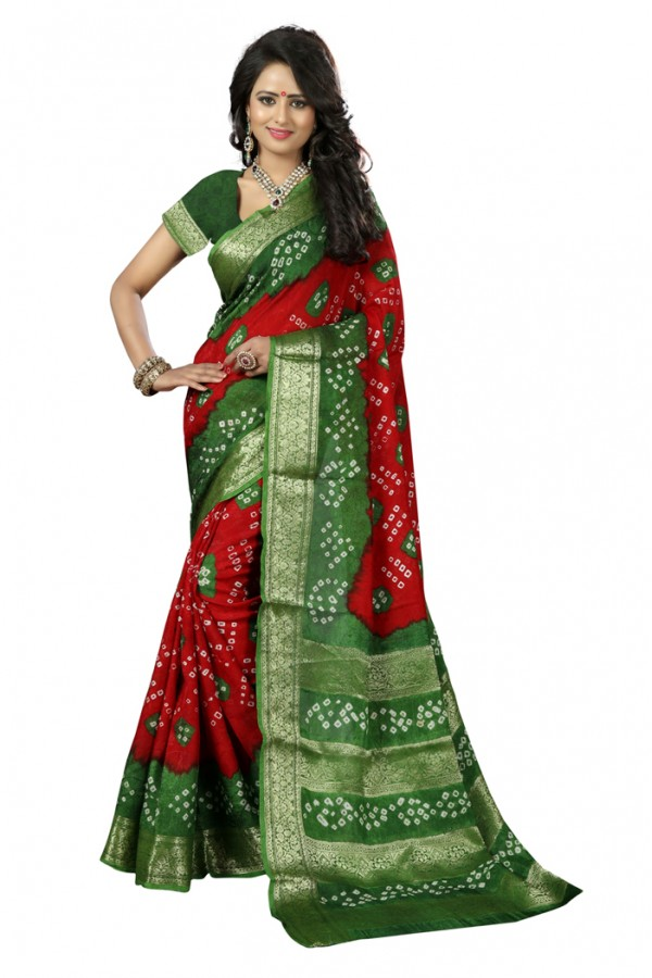 Casual Wear Red & Green Cotton Silk Saree  - 20047