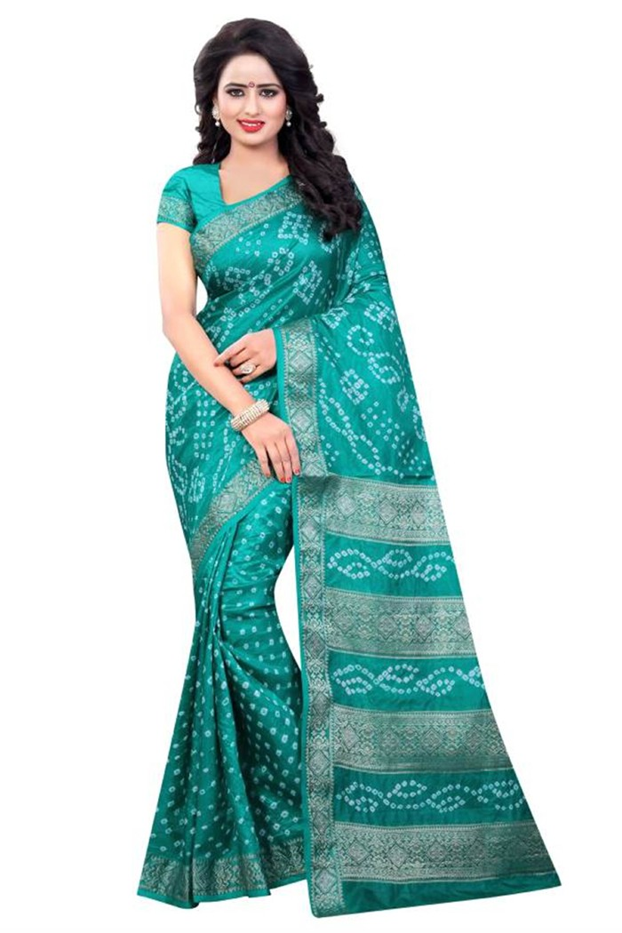 Traditional Wear Green Cotton Silk Saree  - 20057