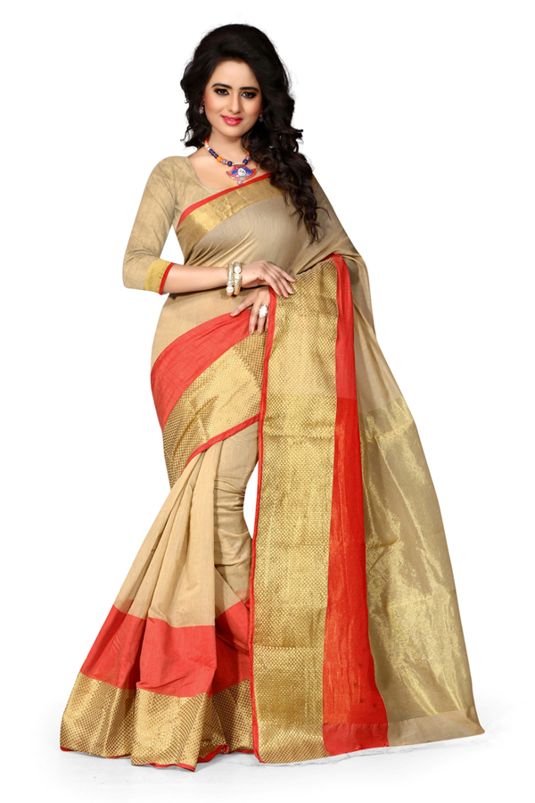 Casual Wear Chiku Cotton Saree  - 20063