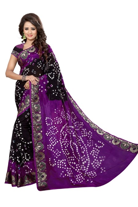 Festival Wear Lowender & Black Cotton Silk Saree  - 20065