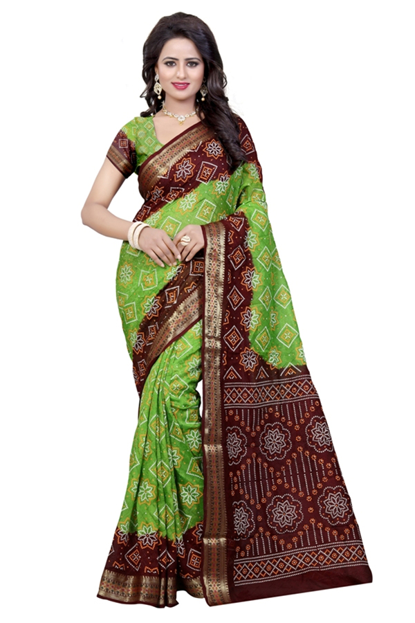 Traditional Wear Coffy & Parot Cotton Silk Saree  - 20071