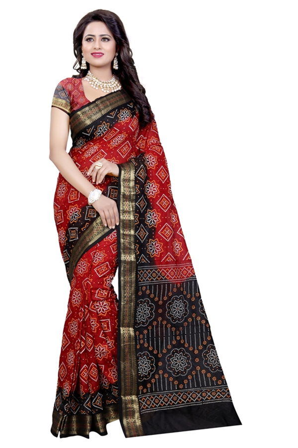 Traditional Wear Black & Red Cotton Silk Saree  - 20075