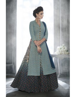 Ethnic Wear Light Blue Georgette Lehenga Suit - 20077