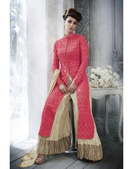 Ethnic Wear Red Tussar Silk Palazzo Suit - 20078
