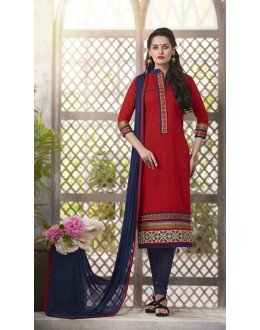 Festival Wear Readymade South Cotton Red Salwar Suit - 20085