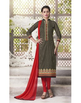 Ethnic Wear Readymade South Cotton Green Salwar Suit - 20088
