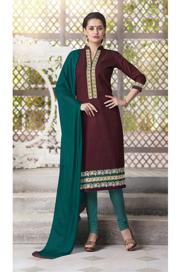 4181bfb15 Party Wear Readymade South Cotton Maroon Salwar Suit - 20089