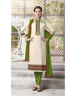 Festival Wear Readymade South Cotton Off White Salwar Suit - 20090