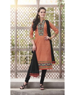 Wedding Wear Readymade South Cotton Orange Salwar Suit - 20091