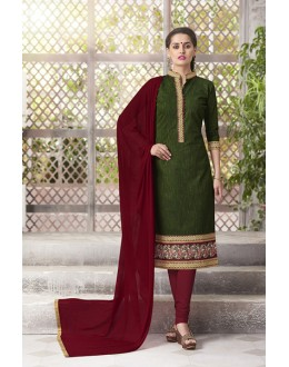 Casual Wear Readymade South Cotton Green Salwar Suit - 20092