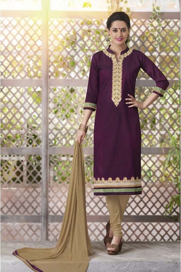 Ethnic Wear Readymade South Cotton Purple Salwar Suit - 20093