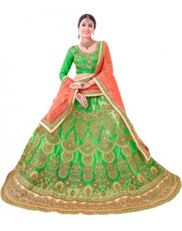 Bridal Wear Green Net Lehenga Choli - 20095