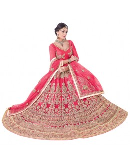 Wedding Wear Pink Net Lehenga Choli - 20096