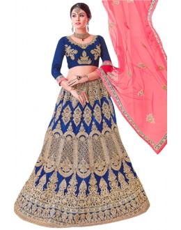 Traditional Wear Royal Blue Net Lehenga Choli - 20097