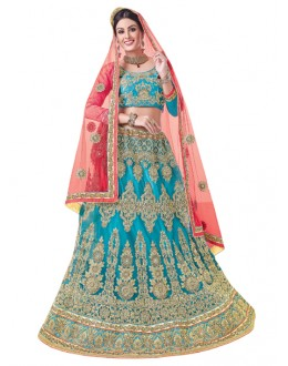 Bridal Wear Sky Blue Net Lehenga Choli - 20098