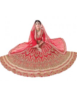 Festival Wear Red Net Lehenga Choli - 20099