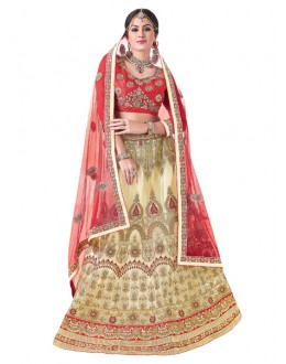 Party Wear Beige Net Lehenga Choli - 20100