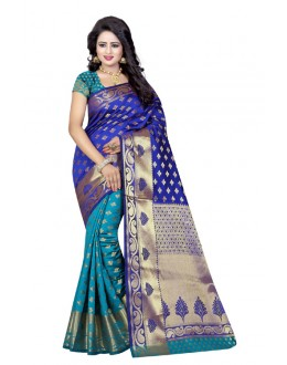Festival Wear Blue Rama Banarasi Silk Saree  - 20186