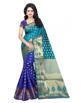 Wedding Wear Rama Blue Banarasi Silk Saree  - 20191