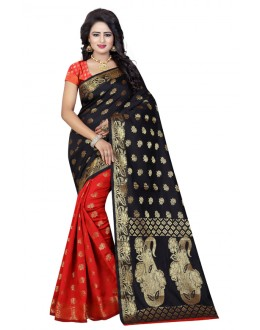 Ethnic Wear Black & Red Banarasi Silk Saree  - 20193
