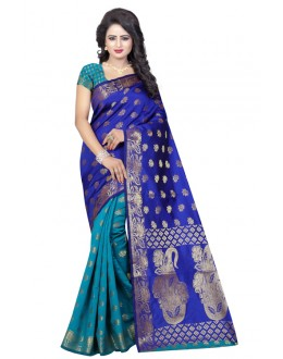 Festival Wear Firozi Blue Banarasi Silk Saree  - 20194
