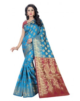 Ethnic Wear Firozi Mazanta Banarasi Silk Saree  - 20201