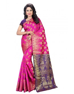 Traditional Wear Pink & Blue Banarasi Silk Saree  - 20203
