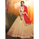 Party Wear Beige Faux Georgette Lehenga - 20465
