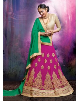 Ethnic Wear Faux Georgette Pink Lehenga - 20466