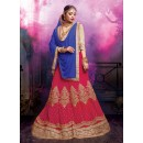 Wedding Wear Faux Georgette Pink Lehenga - 20468