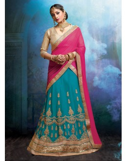 Ethnic Wear Faux Georgette Blue Lehenga - 20469