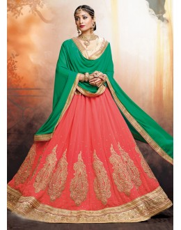 Tradition Wear Faux Georgette Peach Lehenga - 20470