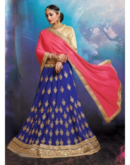 Party Wear Faux Georgette Blue Lehenga - 20471