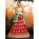 Wedding Wear Faux Georgette Red Lehenga - 20472