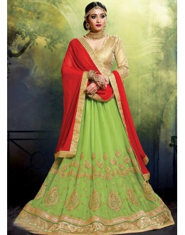 Festival Wear Faux Georgette Green Lehenga - 20473