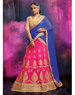 Traditional Wear Faux Georgette Pink Lehenga - 20474